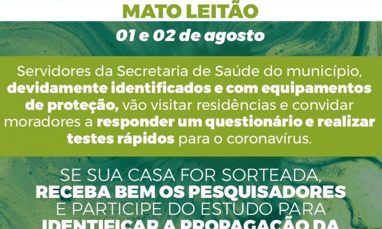 PESQUISA COM TESTES DA COVID-19 NO DOMINGO, 02